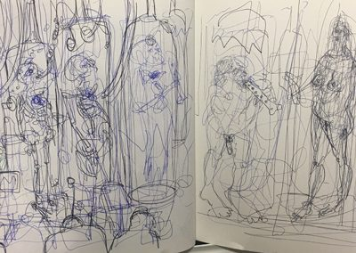 Robbie Bushe, Neanderthal  Cryogenic Chambers, biro sketch, 2017