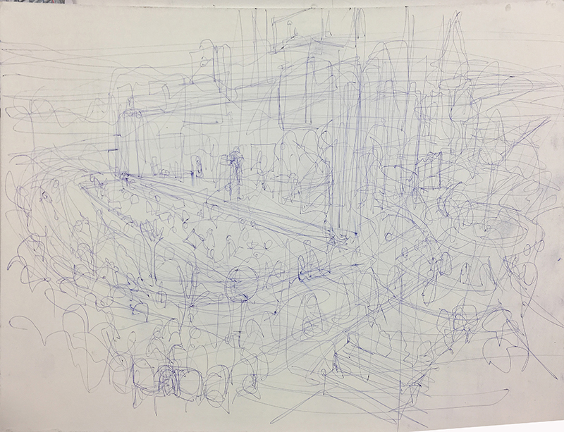 3. drawing out final composition with biro